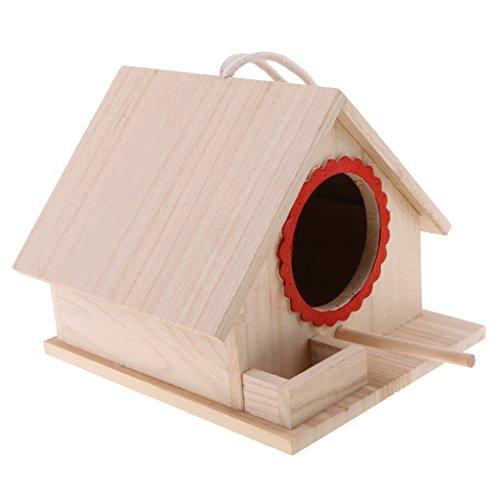 LOVIVER Casa de Pájaros Pajarera Nido Casa de Aves de Madera Natural con Cuerda Decorativa para...