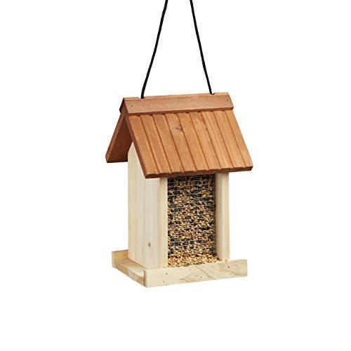 Relaxdays Comedero para Pájaros Colgante en Forma de Casa, Madera, Beige, 27 x 17 x 18 cm