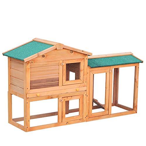 PawHut Conejera para Exterior Madera 145x46x85 (LxAnxAl) Jaula para Conejos y Animales Pequeños con...