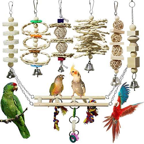 onebarleycorn – Juego de 7 Juguetes para Pájaros Columpio para Loros Accesorios Madera Natural...