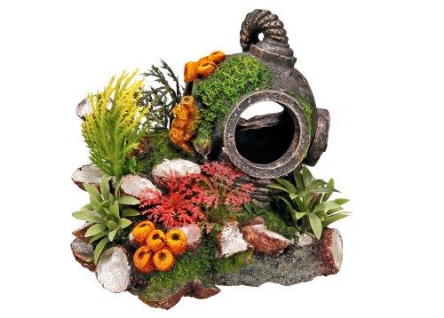 Nobby Casco con Plantas, Adorno de Acuario 13,5x 11x 12cm