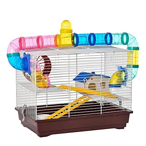 PawHut - Jaula para Hamster, Casa para Ratoncillos Roedores, Animal Pequeño con Escalera, Pista,...