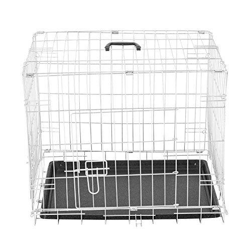 PawHut Jaula Plegable de Metal para Mascota Perro 2 Puertas Transportín 5 Medidas 2 Colores...