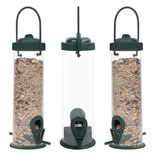 BELLE VOUS Comedero Pajaros Tubo de Plástico Colgante Comedero Aves Silvestres (Pack de 3)...