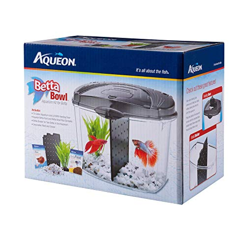 Aqueon Betta Bowl - Kit para Acuario, Color Negro