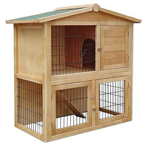 Conejera de Madera caseta Exterior para Mascotas pequeñas cobertizo 98x54x100 cm
