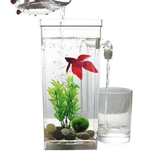 SODIAL LED Mini Tanque de peces Acuario auto limpieza Cuenco del tanque de peces Comodo acuario de...