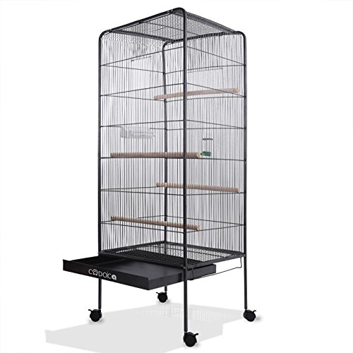 Deuba Jaula de pájaros XXL Negro 18 kg con Ruedas giratorias 157 cm Grande pajarera casa de pájaro...