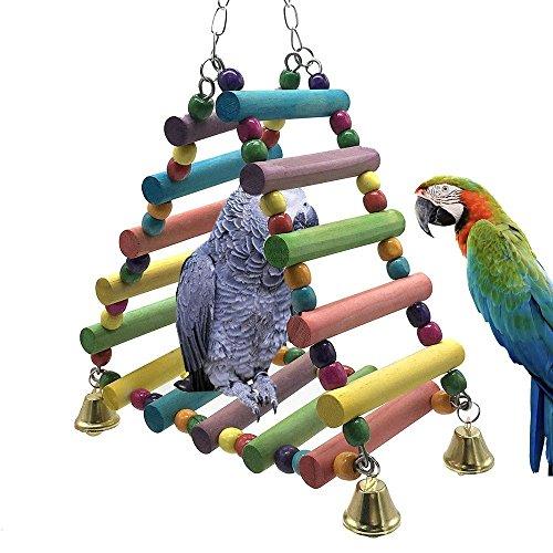 OSPet jouet perroquet, cadre d'escalier triangle en bois coloré, Jouets à mâcher pour oiseaux