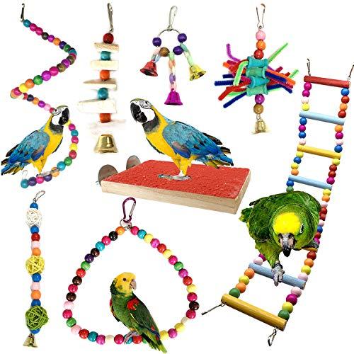 PietyPet Juguetes para Pájaros, 8 Piezas Perchas Pájaros Juguetes con Campanas, Escalera de...