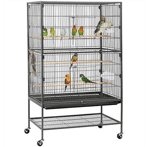 Yaheetech Jaula Grande Jaula para Pájaros Jaula para Mascota con Ruedas 52 cm x 79 cm x 131 cm