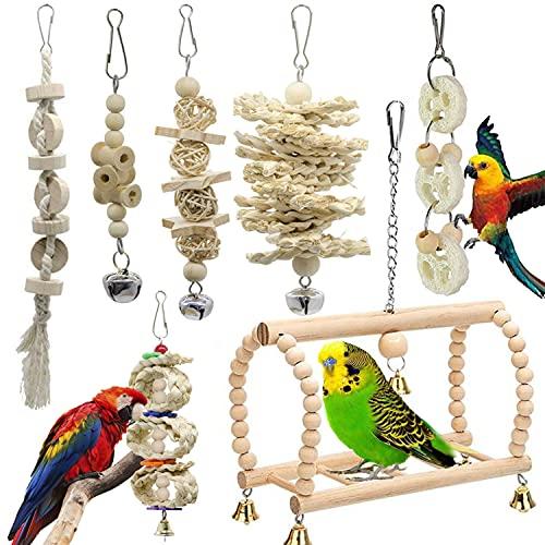 GingerUP 7 Unidades Juguetes para Pájaros Colorful Columpio para Loros Accesorios Jaula Pajaros...