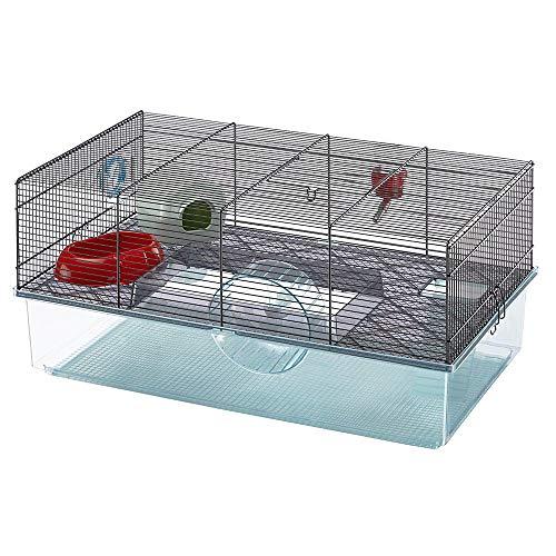 Feplast Jaula para hámsteres FAVOLA, para pequeños roedores, Plástico Robusto y Metal, Dos Pisos,...